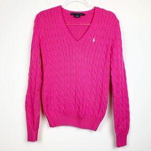 Ralph Lauren Sport Fuchsia V-Neck Cable-Knit | L